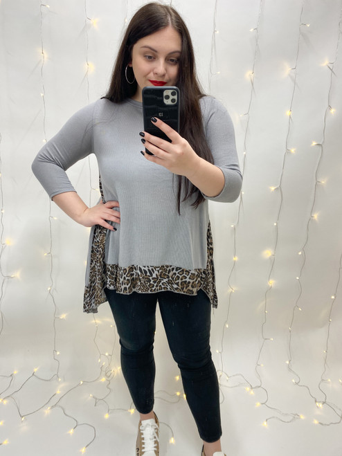 The Becca Leopard Print Longline Tunic | Grey