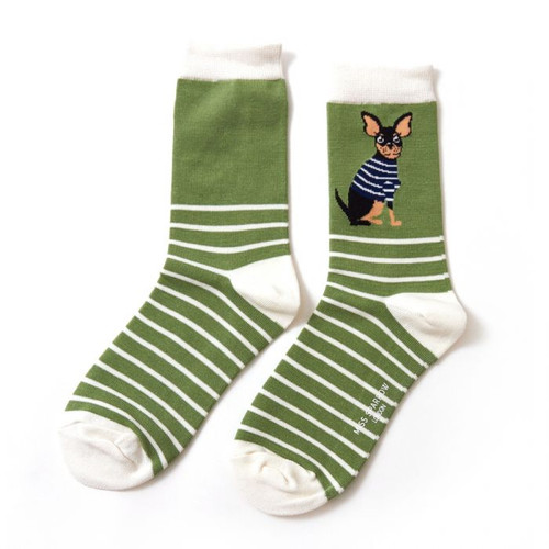 Miss Sparrow Chihuahua Socks In Green