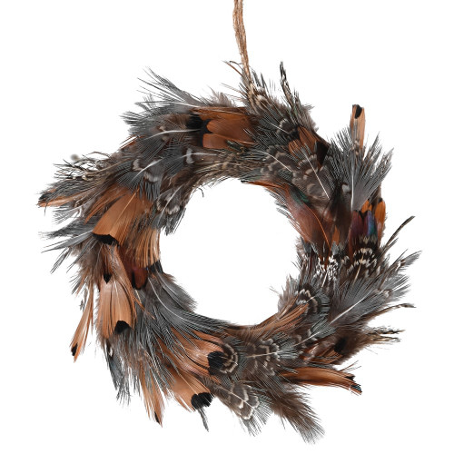 Brown Feather Mini Wreath Decoration