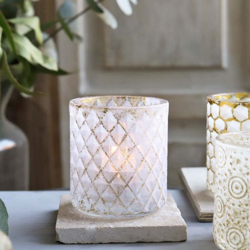 Diamond Pattern Glass Candle Holder