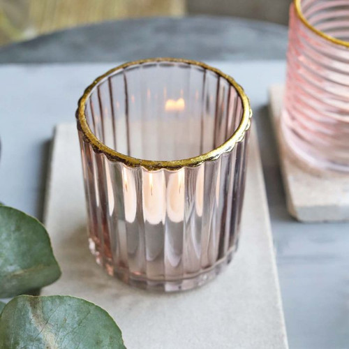 Smoky Grey Glass T-Light Holder