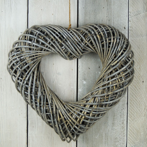 Grey Washed Wicker Heart Wreath