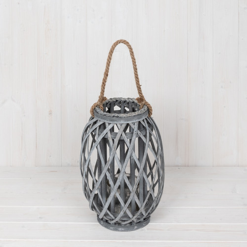 Grey Wash Wicker Lantern