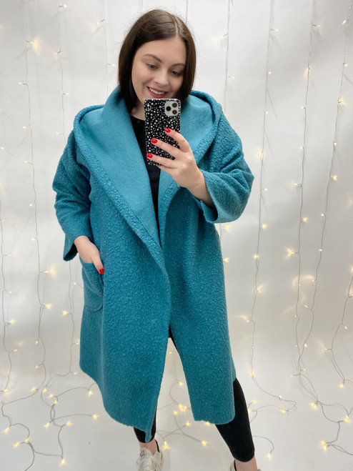 The Lenora Button Coat   Teal