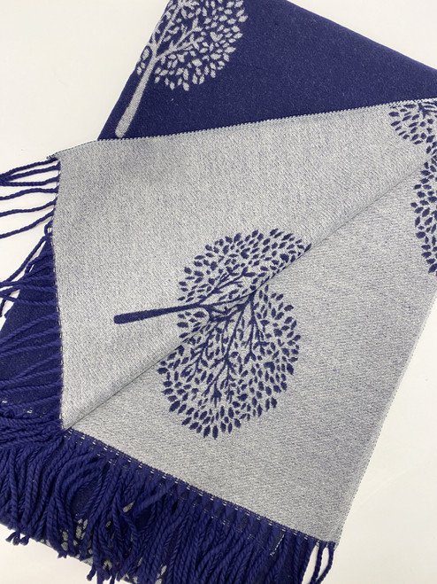 Navy Mulberry Scarf