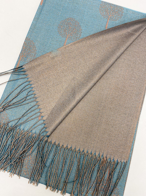 Glitter Mulberry Scarf in Teal