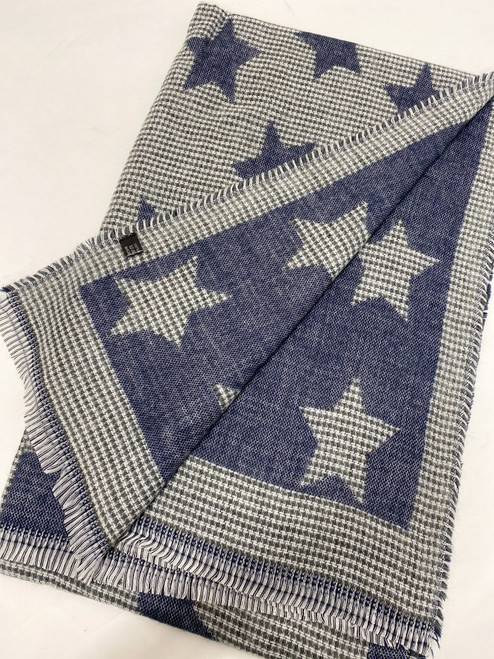 Check Stars Scarf in Navy
