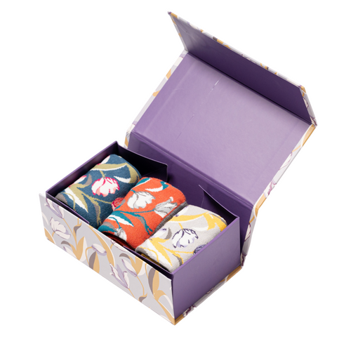 Miss Sparrow Tulips Socks Gift Box
