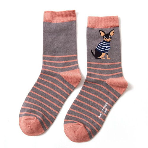 Miss Sparrow Chihuahua Stripes Socks in Light Grey