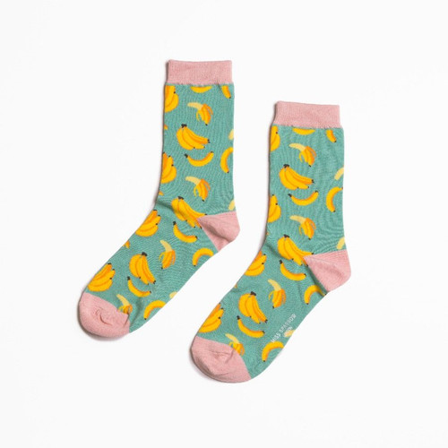 Miss Sparrow Bananas Socks in Turquoise