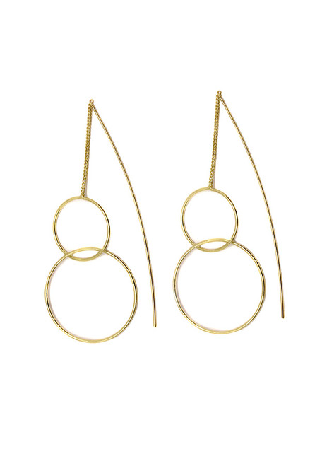 Europa Gold Circle Pull Through Earrings