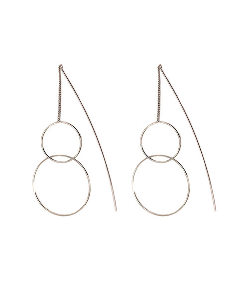 Europa Silver Circle Pull Through Earrings