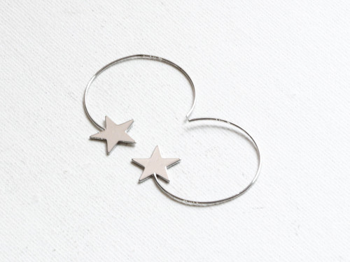 Estelle Silver Star Hoops