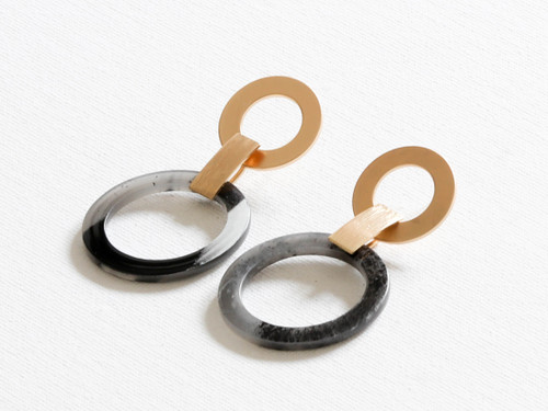 Alice Grey Faux Horn 2 Tone Statement Earrings