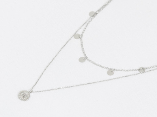 Linette Silver 2 Row Star Encrusted Charm Necklace