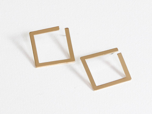 Denise Gold Open Square Geometric Earrings