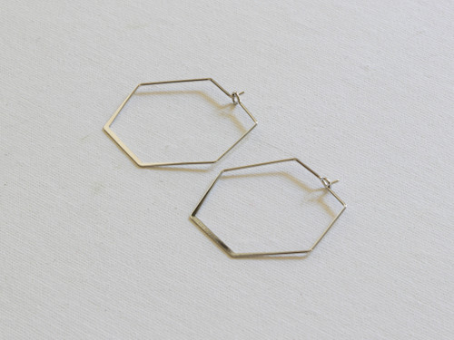 Iro Silver Hexagon Mini Hoop Earrings