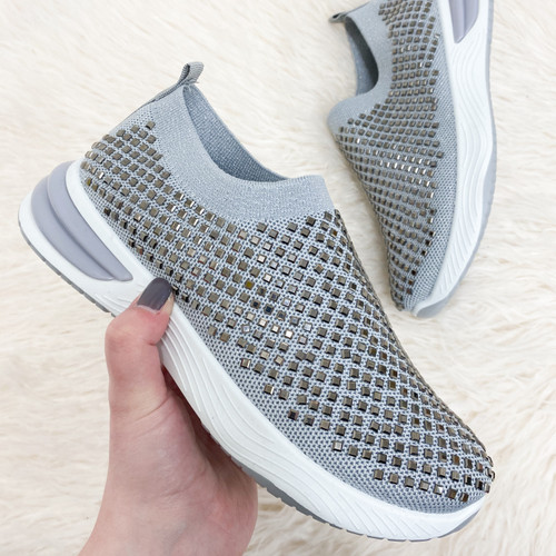 Silver Stud Knitted Trainers