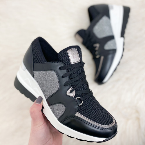 Black Wedged Trainers