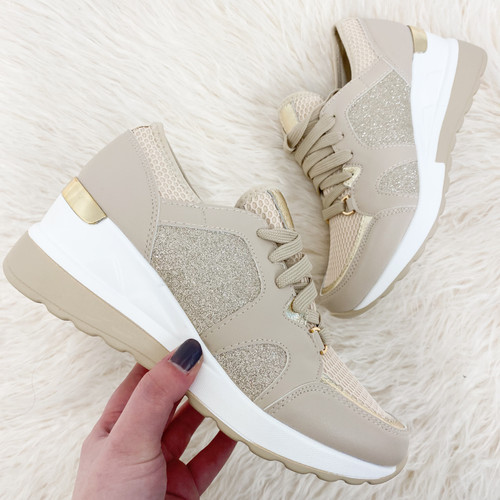 Beige Wedged Trainers