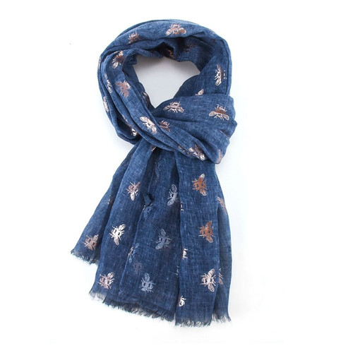 Rose Gold Bees Scarf | Navy
