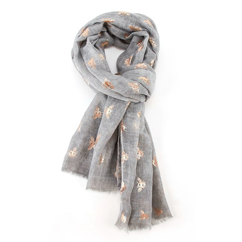 Rose Gold Bees Scarf | Silver