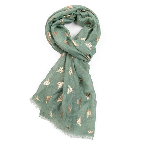 Rose Gold Bees Scarf | Green