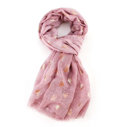 Rose Gold Bees Scarf | Pink