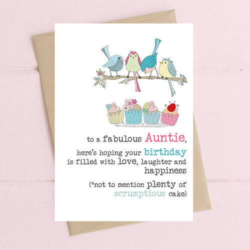 Auntie's Birthday Filled With Cake Card