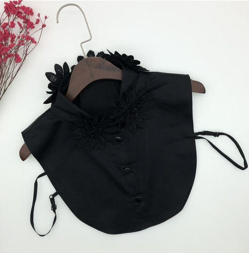 Black Floral Detachable Collar Bib