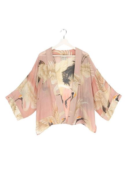 One Hundred Stars Stork Pink Plaster Kimono