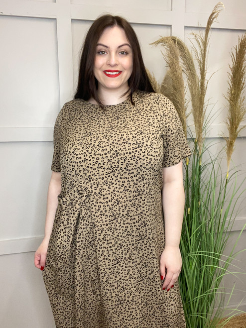 The Elasticated Pocket Dress | Taupe Leopard
