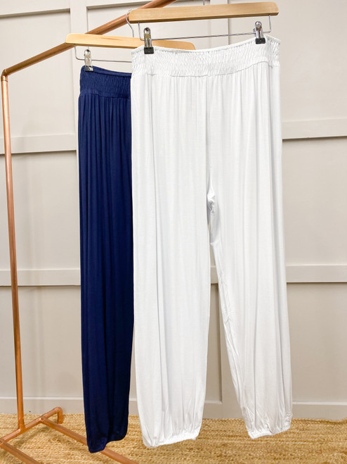 The Elasticated Trousers   White