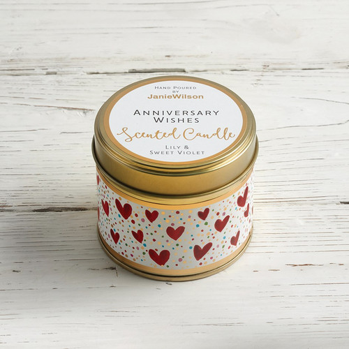 Anniversary Wishes - Lily & Sweet Violet Large Candle