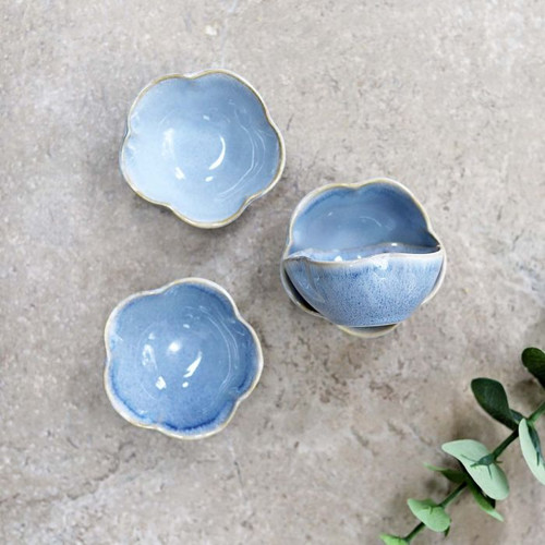 Scalloped Blue Dipping Bowl