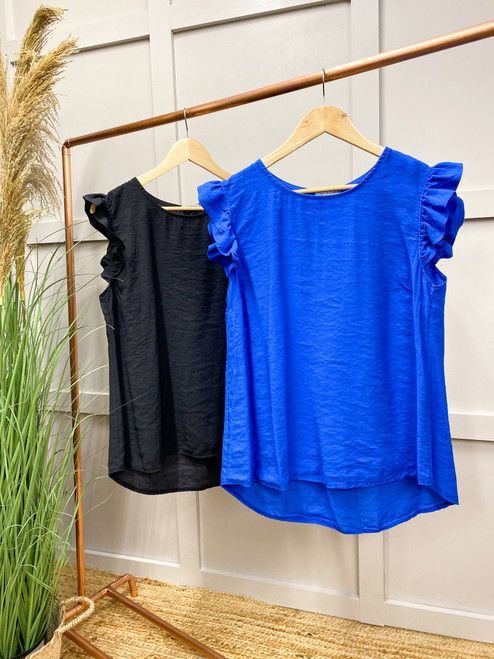 The Amalfi Coast Collection   Blue Frill Sleeved Top