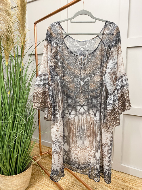 The Amalfi Coast Collection | Grey Floaty Dress with Crystals