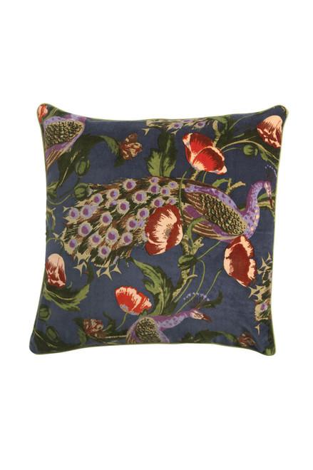 One Hundred Stars Peacock and Poppies Grey Velvet Cushion Cover