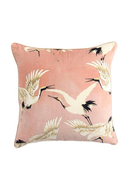 One Hundred Stars Stork Plaster Pink Velvet Cushion Cover