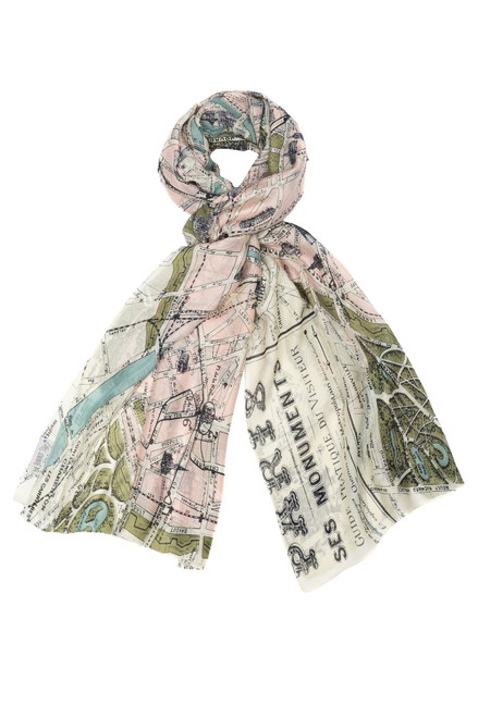 One Hundred Stars Paris Map Scarf