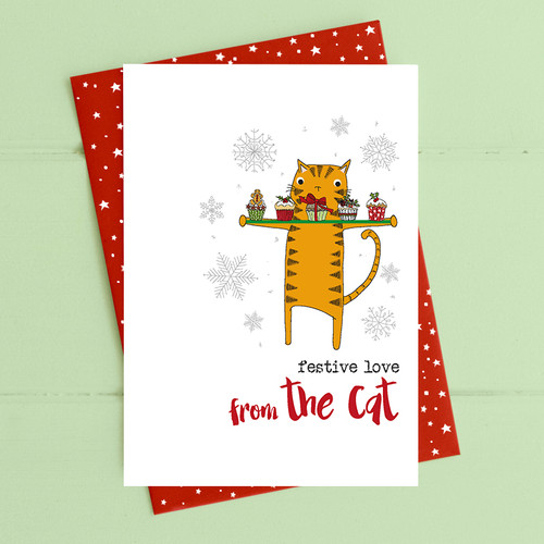 Festive Love from the Cat Card