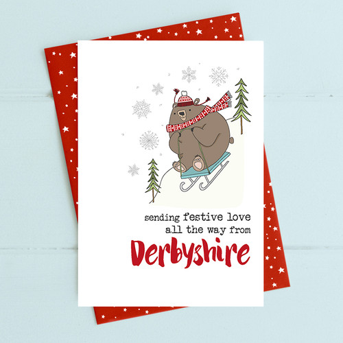 Festive Love From Derbyshire Card