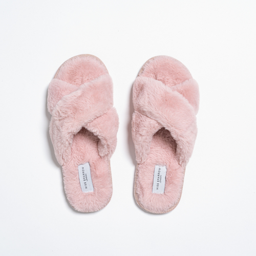 Faux Fur Cross Over Slippers by Miss Sparrow | Pink