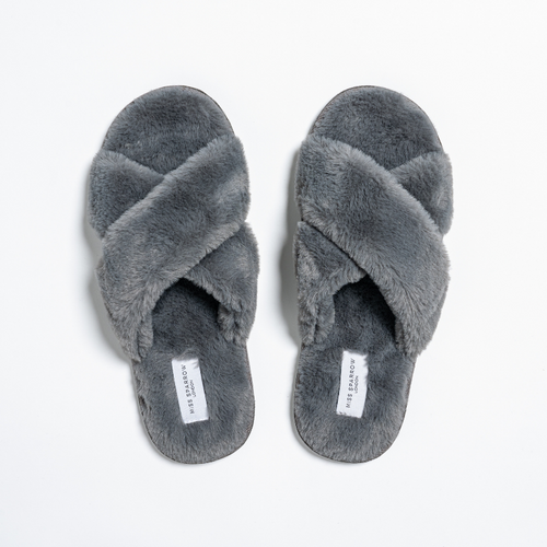 Faux Fur Cross Over Slippers by Miss Sparrow | Charcoal