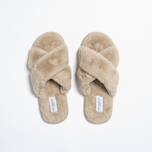 Faux Fur Cross Over Slippers by Miss Sparrow | Beige