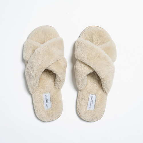 Faux Fur Cross Over Slippers by Miss Sparrow | Cream