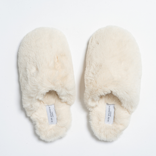 Faux Fur Mule Slippers by Miss Sparrow | Cream