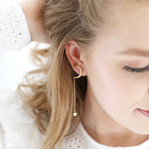 Gold Mismatched Moon & Stars Chain Stud Earrings