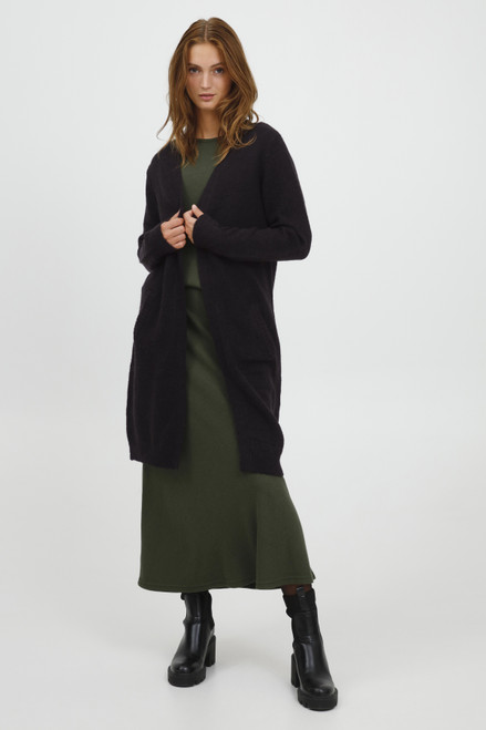 The Mirelle Long Cardigan by b.young | Black