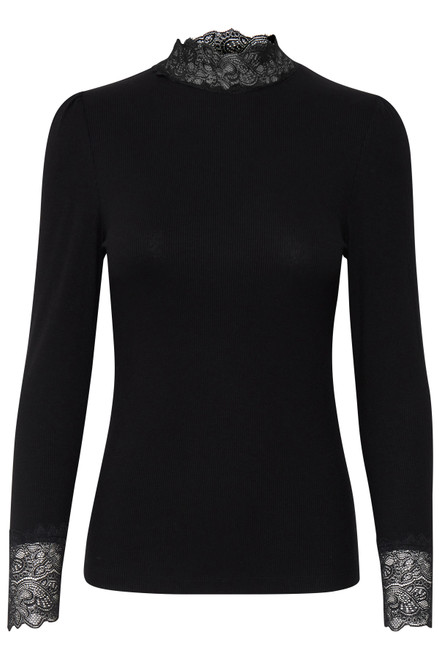 The Toella Lace Top by b.young | Black
